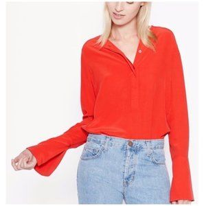 Equipment Kenley Bell Sleeves French Red Silk Top